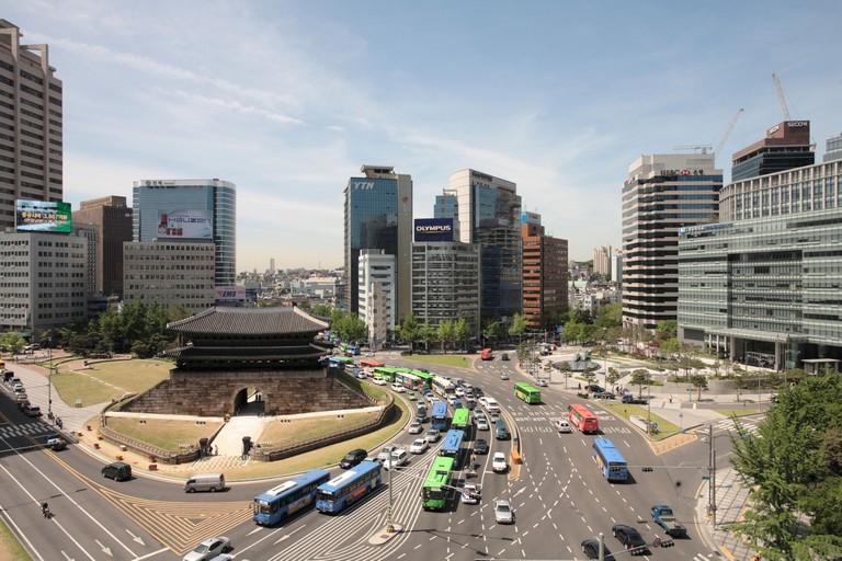 Namdaemun Gate in South Korea before it burnt down