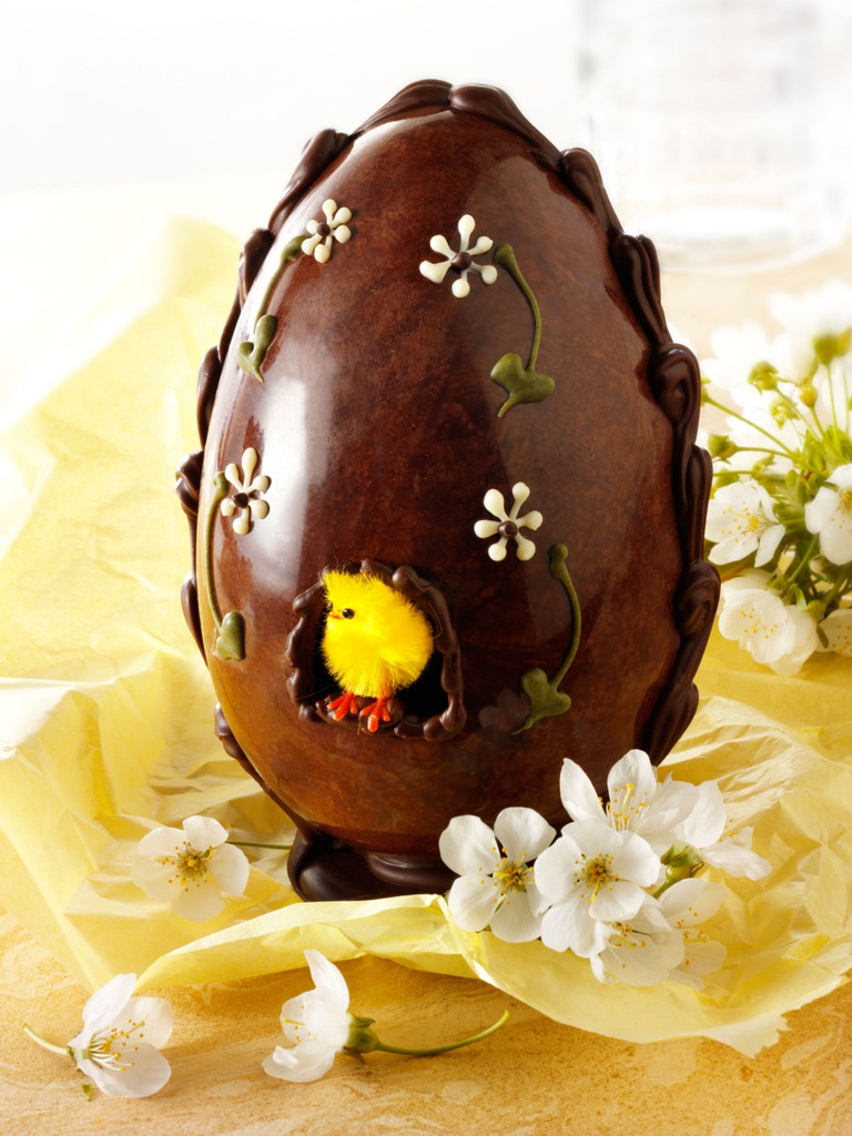 Traditional hand made decorated chocolate Easter eggs