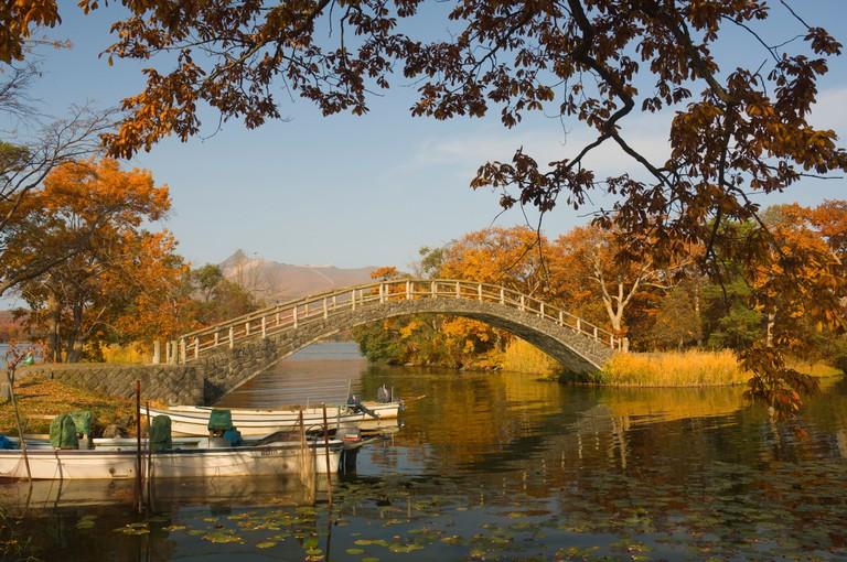 Lake Onuma and Mount Komaga-dake, Onuma Quasi-National Park, Hokkaido, Japan, Asia