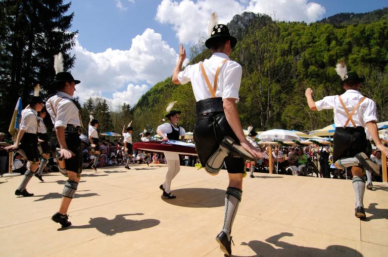 Schuhplattler, Bavarian folklore, folk dance, Ruhpolding, Chiemgau, Bavaria, Europe