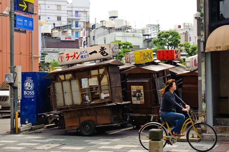 Street stalls parked until the evening, Fukuoka city, Fukuoka prefecture, Japan, June 4, 2009.