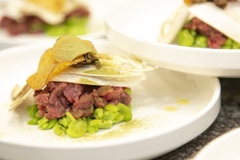 Beef Crudo , Anchovy Dressing & Broadbean by Giovanna Eusebi. Image Credit - Gerardo Jaconelli