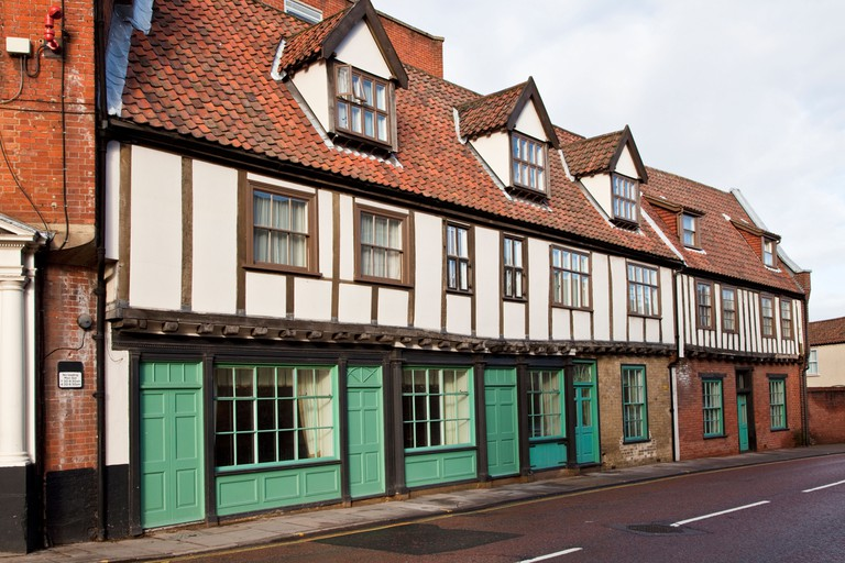 Restored timber frame medieval houses In Palace Street, Norwich, Norfolk, UK
