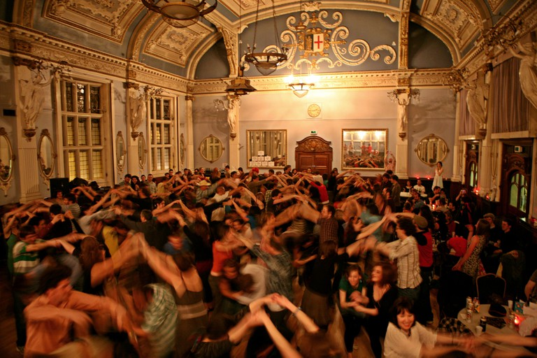 A Cut A Shine Ceilidh dance held in the Great Hall of the Old Finsbury Town Hall. London.