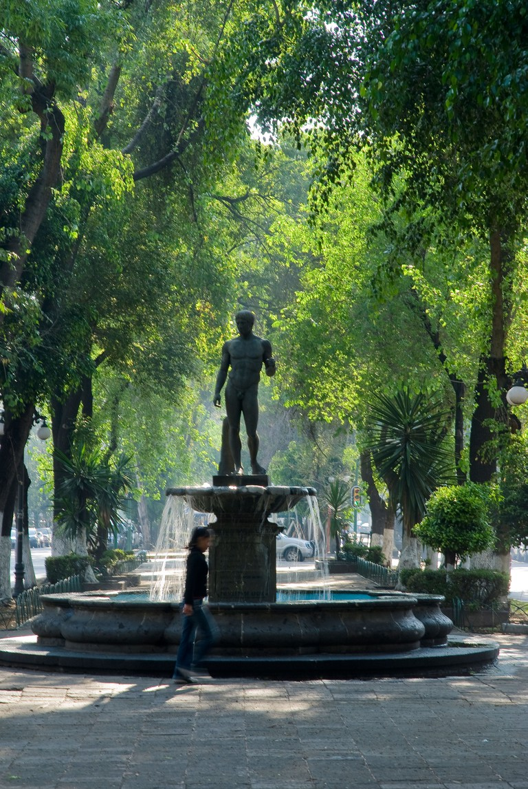 A pedestrian walkway on Avenida Alvaro Obregon in the Colonia Roma section of Mexico City.