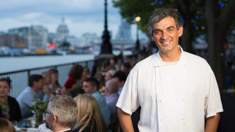 EDITORIAL USE ONLY Bruno Loubet head chef at Grainstore attends La Maison Maille A?La Rive GaucheA? on the Southbank, London.