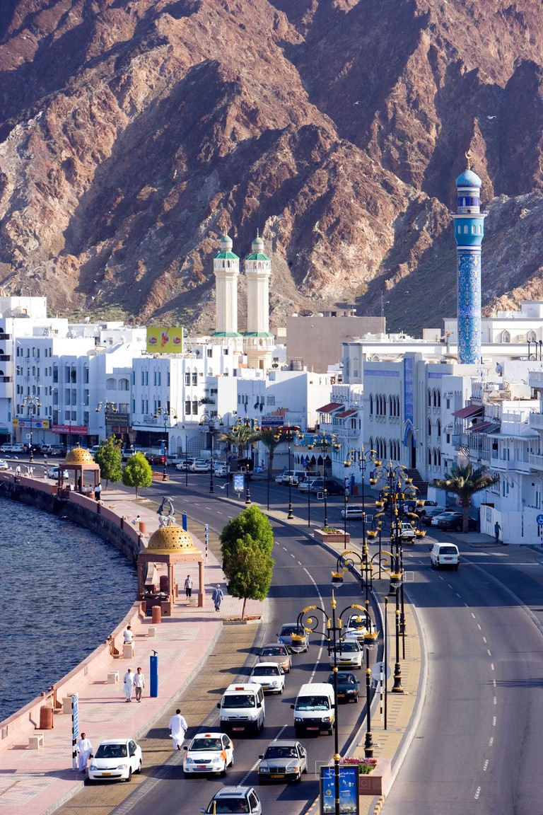 Oman Arabia East Corniche town city Old Town Muttrah courage yard Maskat Muscat overview coast sea mount