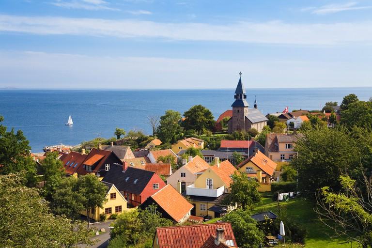 Gudhjem village at the east coast, Bornholm, Denmark, Europe