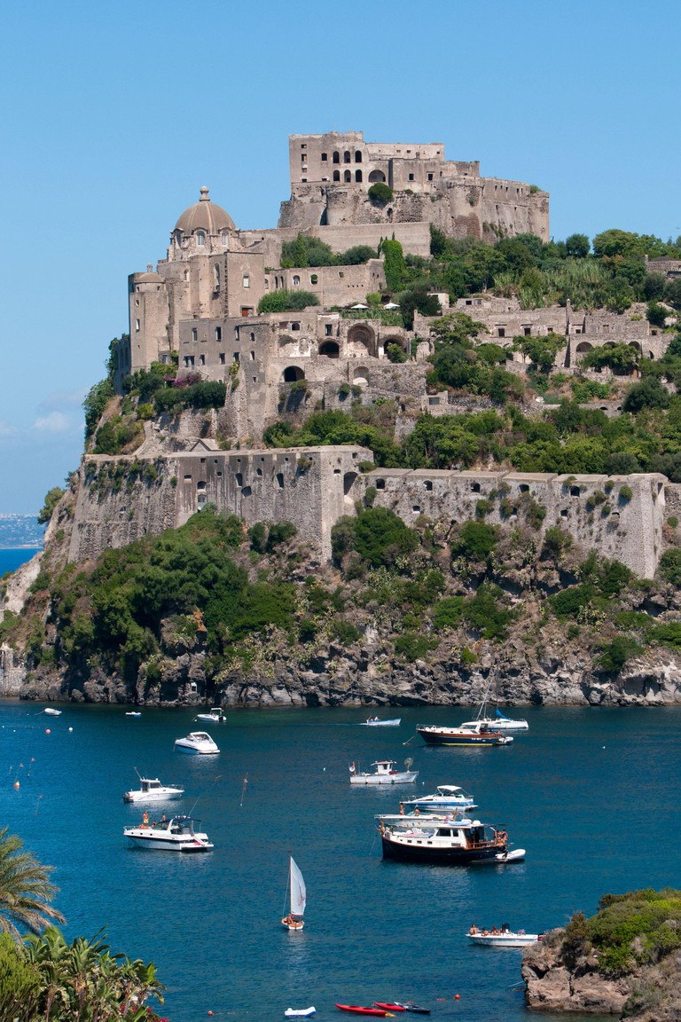 The Aragonese Castle on the island of Ischia, in the bay of Naples, Italy.