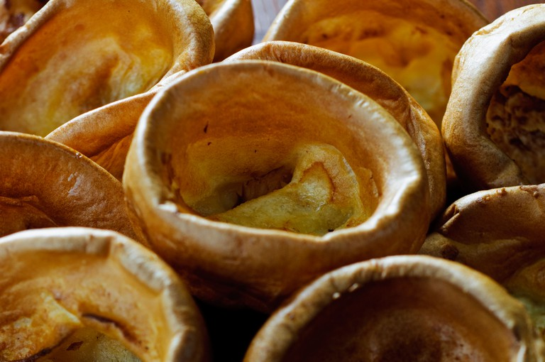 Close up of individual Yorkshire puddings to accompany traditional English roast beef