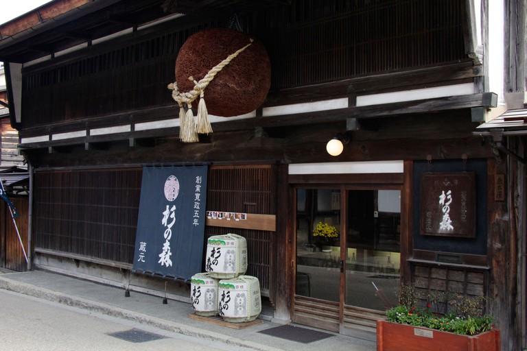 Sake brewery Suginomori at Narai-juku, Nagano, Japan.