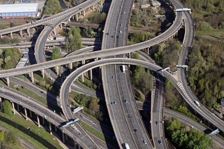 aerial view of Spaghetti Junction, Graveley Hill, Birmingham