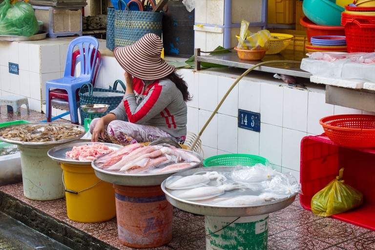 Seafood section at Ben Thanh Market in Saigon