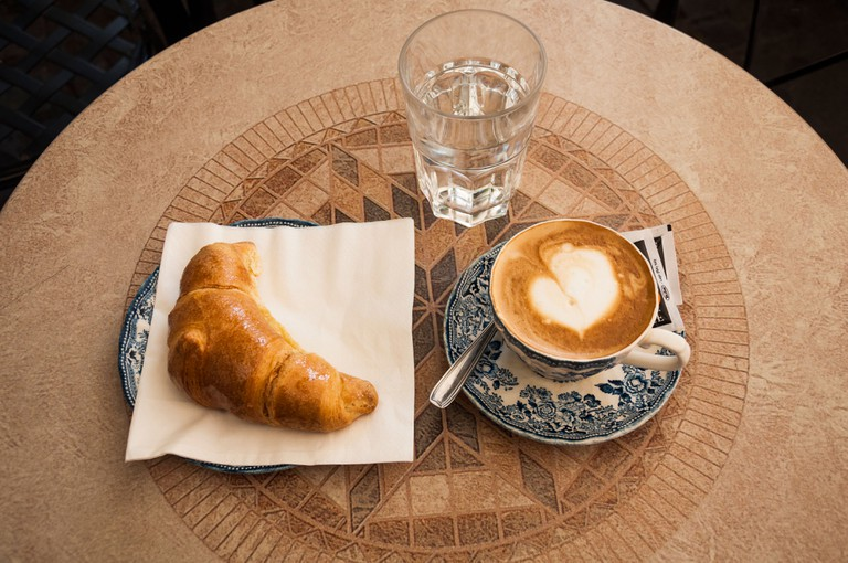 Croissant and coffee in Rome