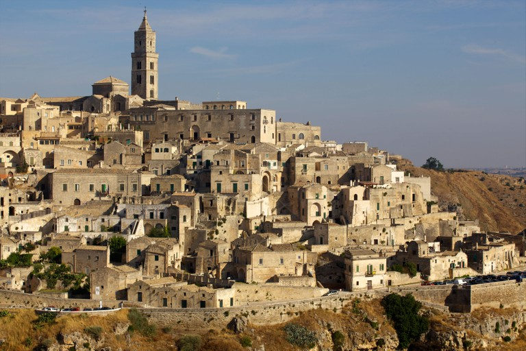 View of the Duomo and the Sassi of Matera, from the cliffside, Matera, Basilicata, Italy, Europe