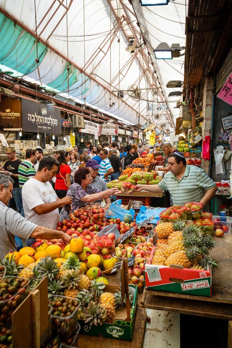 Fruits and vegetables stalls at Mahane Yehuda market, Jerusalem, Israel.