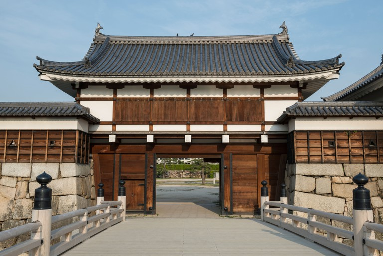 Main Entrance Gate to Hiroshima Castle and Gokoku Shrine, Japan