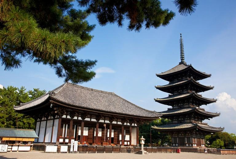 The Five Storied Pagoda, Horyu-ji Temple, Nara, Japan.
