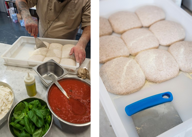 Left: Pizza dought and other ingredients | Right: Pizza dough ready for resting