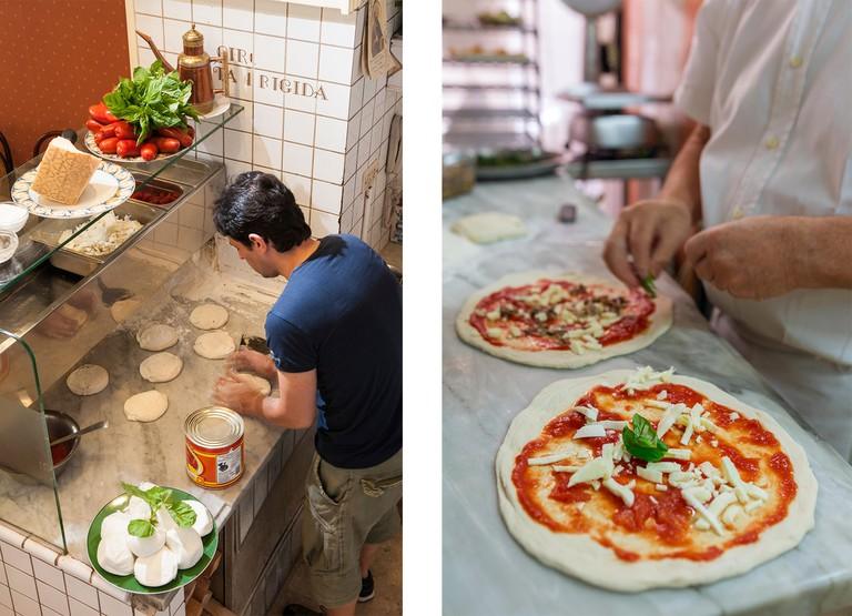 Left: Ciro a Santa Brigida pizzeria in Naples | Right: Preparing classic pizza Margherita in traditional pizzeria