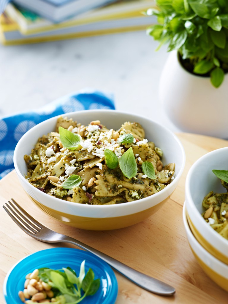 Bowl of farfalle pasta with herb garnish