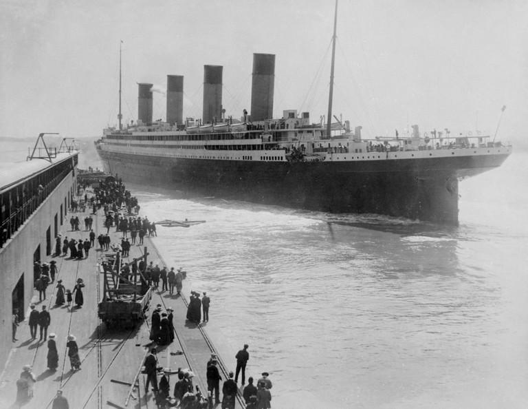 Titanic leaving Southampton. Image shot 1912. Exact date unknown.