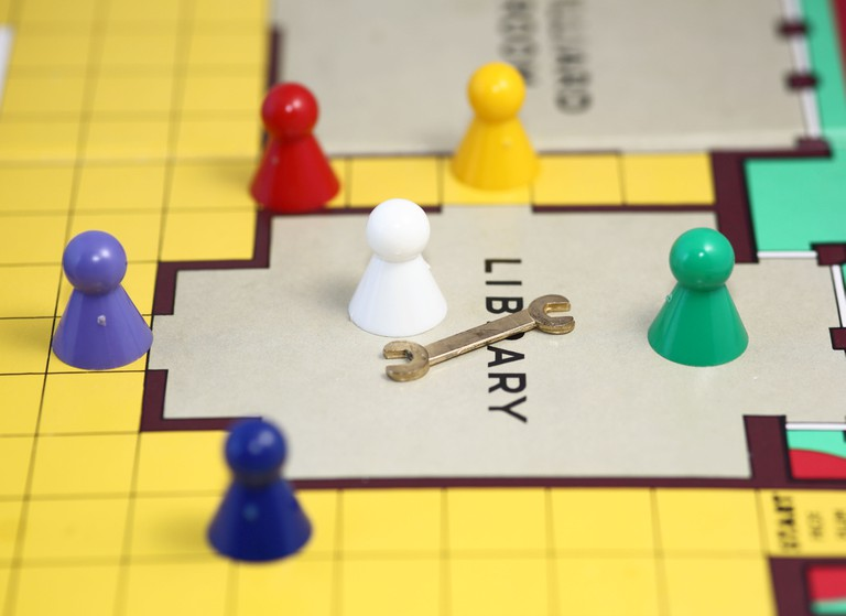 cluedo board game characters and weapons in the library