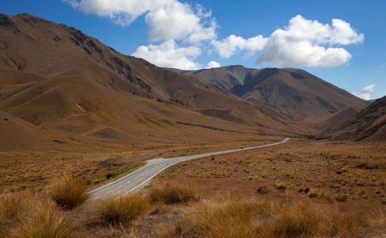 Road on Lindis Pass, near Omarama, Southern Alps, South Island, New Zealand