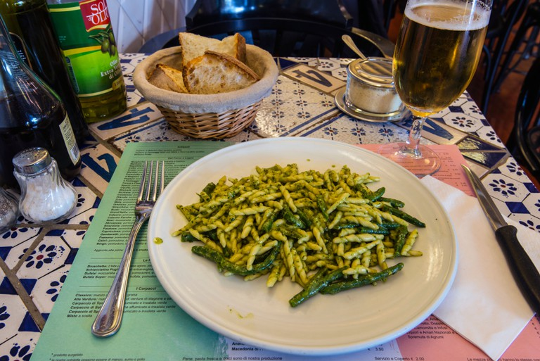 Traditional Italian pasta dish served in a restaurant
