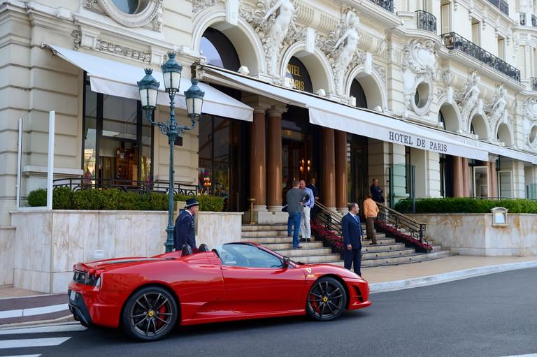Principality of Monaco, Monaco, Monte-Carlo, Ferrari parked outside the Hotel de Paris