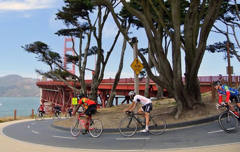 cyclists race over Presidio bike path in summer