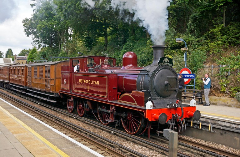 Steam on the Metropolitan line 16 August 14 from Rickmansworth to Chesham with Metropolitan 1 pulling train through Chorleywood