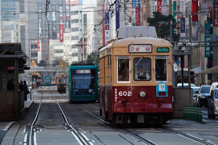 City tram, Hiroshima, Japan.