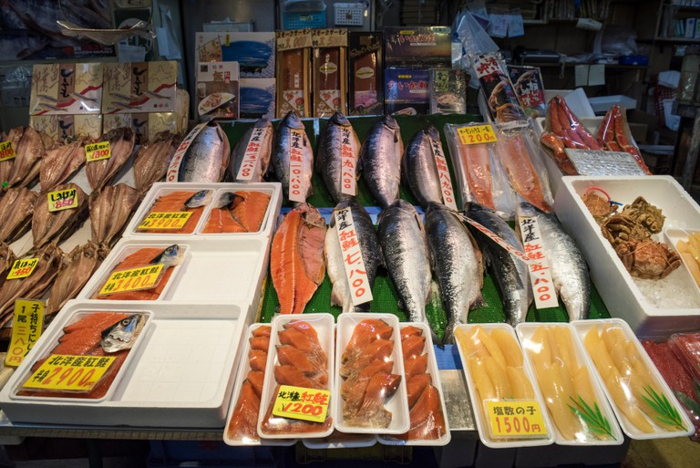 Seafood stall in Hakodate Morning Market