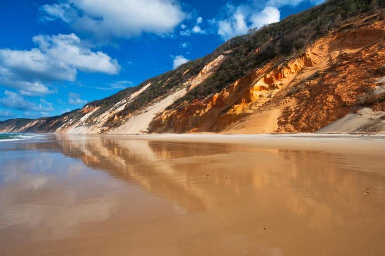 Coloured sands dunes at Rainbow Beach.
