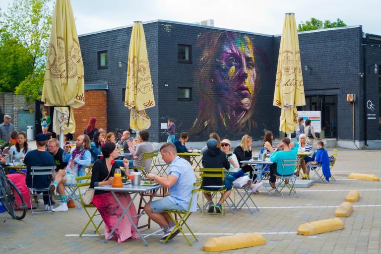 Restaurant terraces, Telliskivi Loomelinnak, Kalamaja, Tallinn, Estonia, Europe