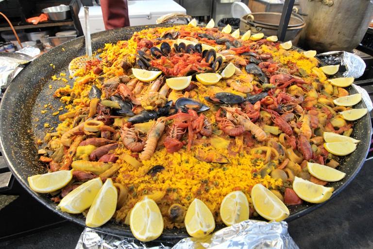 Paella at food stall
