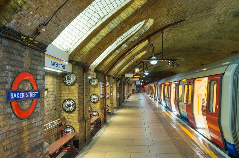 Victorian architecture and exposed brickwork at Baker Street underground station platform London England UK Gb EU Europe