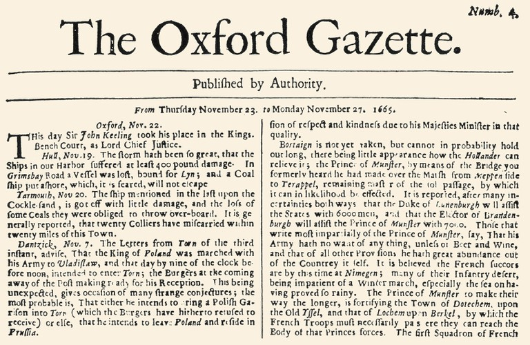 OXFORD GAZETTE, 1665. /nFront page of The Oxford Gazette, for 23-27 November 1665, considered the first English-language newspaper.