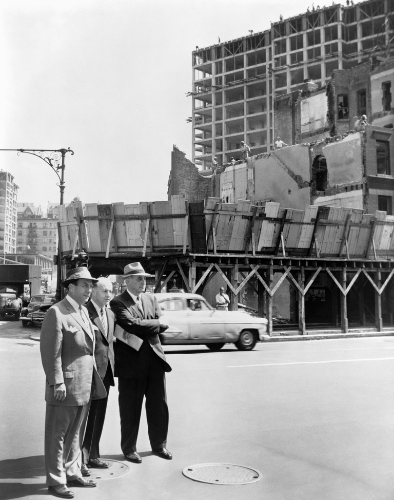WAGNER, MEISTRELL, MOSES. /nMayor Robert F. Wagner, Frank Meistrell and Robert Moses on a housing project tour in New York City. Photograph by Walter Albertin, 1956.