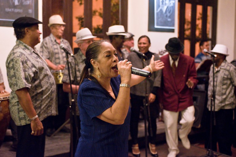 "Some of the original members of the ""Buena Vista Social Club"" performing in Miami"