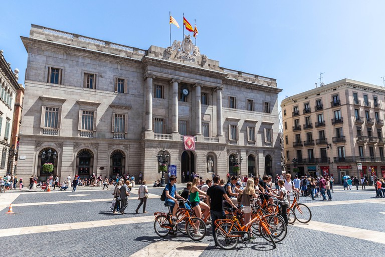 Bicycle guided tour at Placa Sant Jaume, Gothic Quarter