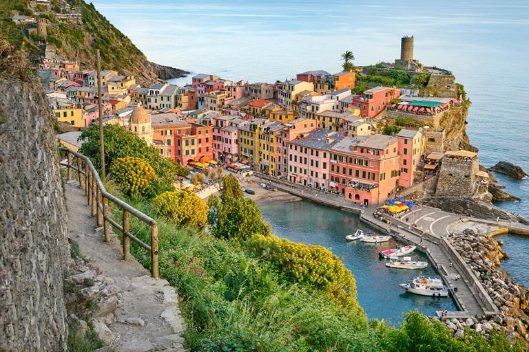 Tourist hiking trail to Vernazza, Cinque Terre, Liguria, Italy