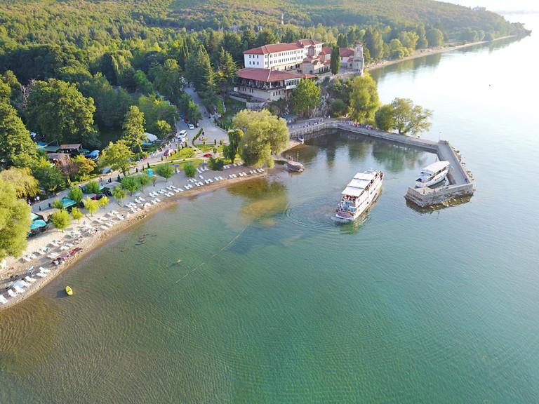 Aerial view of Saint Naum, Ohrid, Macedonia.