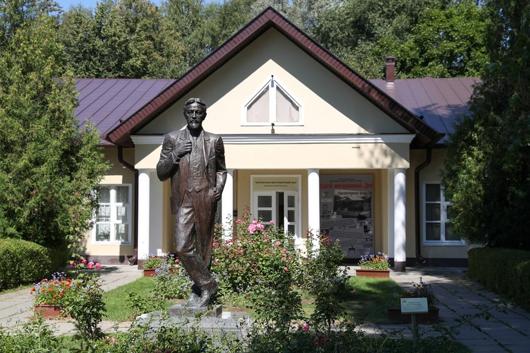 A statue of Russian writer and playwright Anton Chekhov at the Melikhovo estate museum, his former estate, near the town of Chekhov.