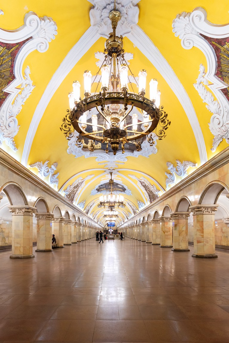 Interior design of the Komsomolskaya ring line metro station in Moscow, Russia.