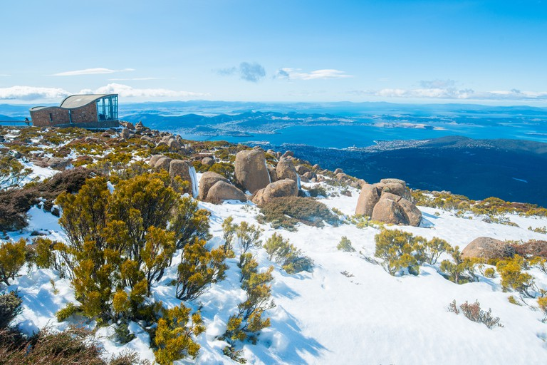 The wind shelter on the summit of Mount Wellington in Hobart the capital city of Tasmania, Australia.