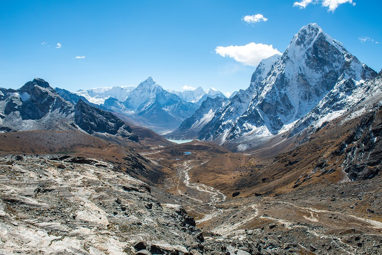 Beautiful landscape of Himalayas mountain range view from the way to Cho La pass, Nepal.
