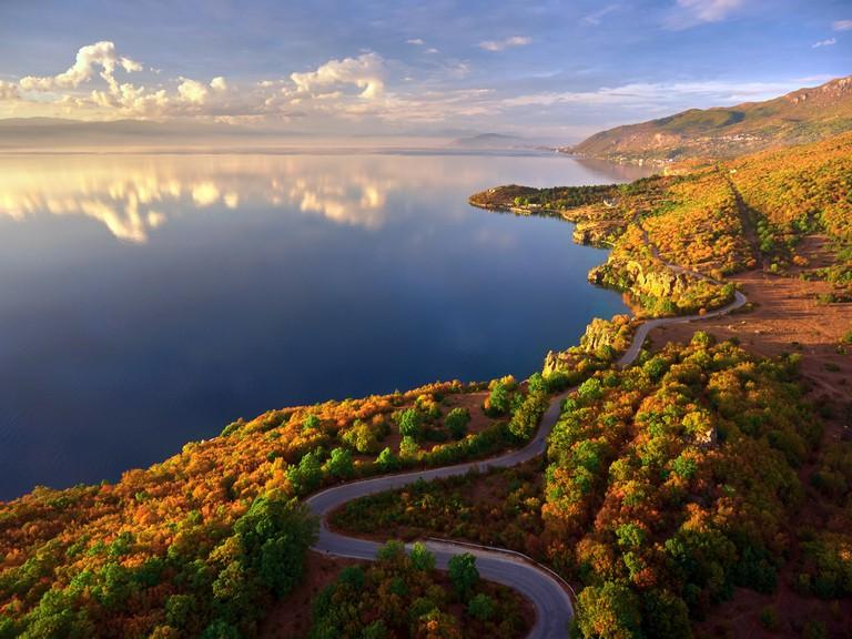 Stunning view of Ohrid lake shoreline in autumn