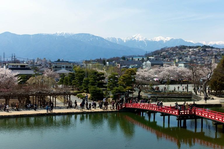 View of the mountains from Matsumoto Castle